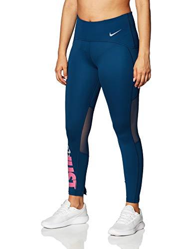 Nike W NK Icnclsh Speed Tght 7_8 Damen Sporthose XS Blau/Silber (Valerian Blue/Reflective silv)