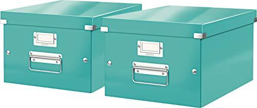 Leitz, Mittelgroße Aufbewahrungs- und Transportbox, Mit Deckel, Für A4, Click & Store (Eisblau, Mittel | 2er Pack)