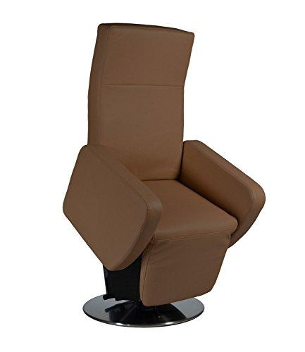 elektrischer Aufstehsessel Fernsehsessel Relaxsessel Pflegesessel mit Aufstehhilfe Rimini Lift bis 130 kg (50 cm Sitzhöhe/mit Stecker, Kunstleder braun)