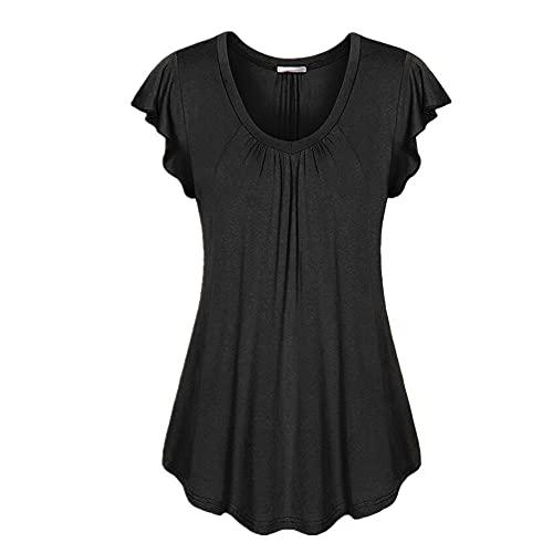 Camiseta Mujer Verano Moda Suelta Cómoda Mujer Manga Corta Vacaciones Ocio Elegante Dulce Color Puro Clásico Todo Fósforo Mujer Top K-Black XL