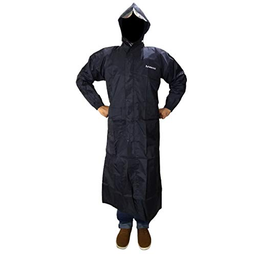 Aristocrat 100% Water Proof Windproof Long Raincoat/Full Coat Jacket with Hood for Men (Black, Large)