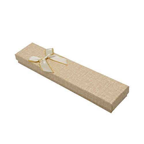 12 Uds cajas de carton en dibujo de textil,tamaño 4x21x2cm.Para embalar los regalos,como pulseras y collares. (Beis)