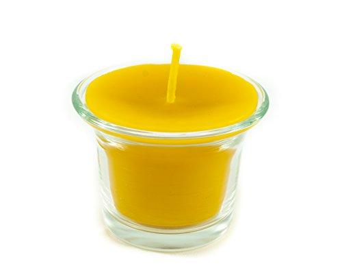 5 Naturra Stumpenkerzen aus 100% Bienenwachs mit Teelichtglas