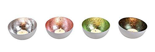 itsisa Schwimmschale (4er Silber - Schwimmkerzen, Tischdeko, Teelichthalter
