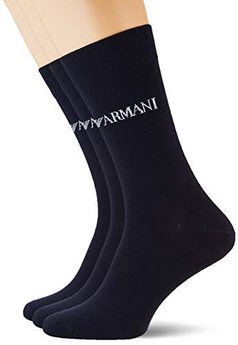 Emporio Armani Underwear Herren Essential Logo Multipack Short Socken, Blau (Blu Navy 00035), One Size (Herstellergröße: TU)