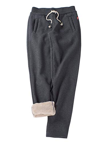Gihuo Women's Winter Track Pants Sherpa Lined Sweatpants Athletic Joggers Pants (2# Dark Grey, Medium)