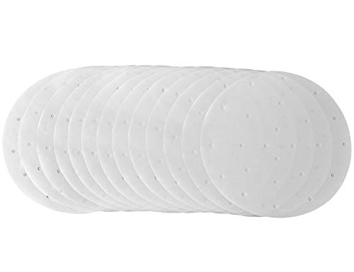 KLEMOO 100PCS Round Perforated Parchment Paper Liners 9 inch, Non-stick, Make Clean up a Breeze, Perfect for Bamboo Steamer, Air Fryer, Baking, Cooking