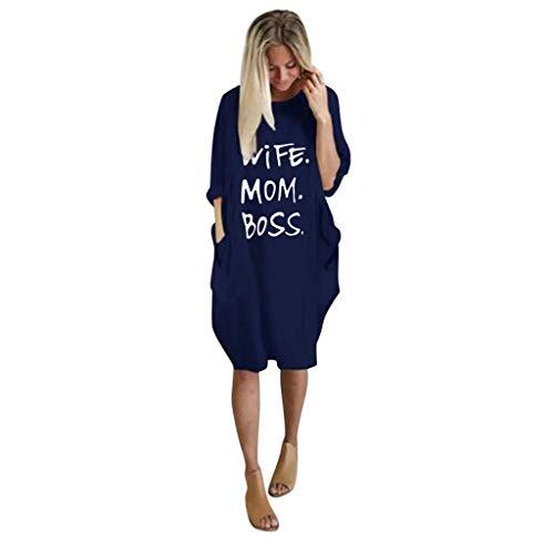 Sisifa Kleider Hemden, Frauen Wife MOM BOSS Gedruckt Sommerkleider Tops Langarm Bluse Lässig Täglich Kurz Minikleid Tasche Strandkleider Partykleid Cocktailkleid
