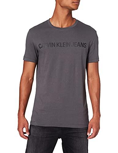 Calvin Klein Jeans Institutional Logo Slim SS tee Camiseta, Pinstripe Gris, XXL para Hombre