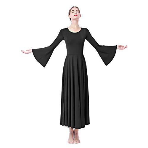 IWEMEK Damen Tanzkleid Liturgisches Lob Kleid mit Glockenärmel Frauen Dancewear Ballettkleid Partykleid Gebet Kleid Falten Maxikleid Party Anbetung Lyrical Ballsaal Kostüm Schwarz XL