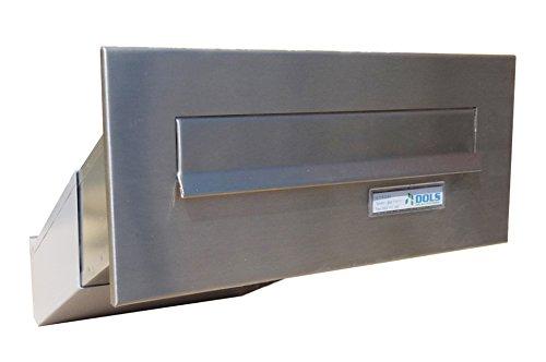 D-042 Edelstahl Mauerdurchwurf Briefkasten mit Namensschild (Tiefe: 35-50 cm) - LETTERBOX24.de