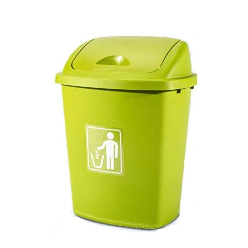 Overkappende vuilnisbak buiten 30L vuilnisbak schudden meerkleurige oude papieren emmer 36 × 27 5 × 49 cm (kleur: groen)