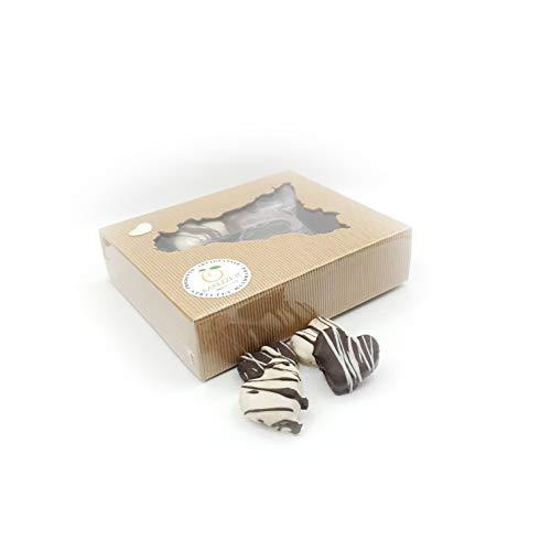 Cuori di pasta di mandorla al rum ricoperti di finissimo cioccolato, in grazioso box regalo (gr.400)
