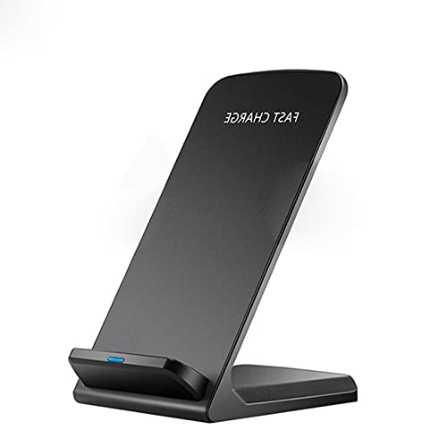ALLWIN Cargador Inalámbrico, Soporte De Carga Inalámbrico Vertical Rápido De 15W Qi para iPhone 12/11 / XS/XR/X / 8/8 Plus/Samsung/Android,Negro