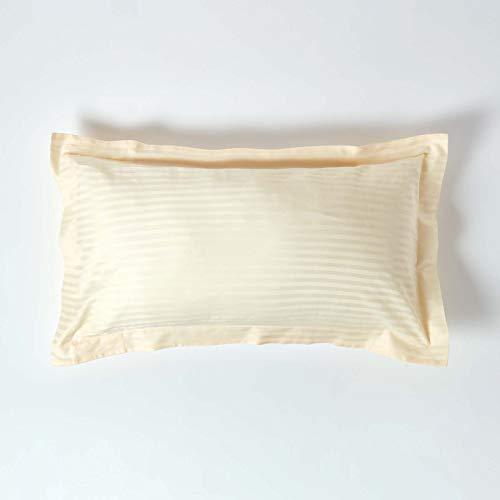 Homescapes – Taie d'Oreiller rectangulaire Crème 50 x 90 cm – Volant Plat Oxford – 330 Fils