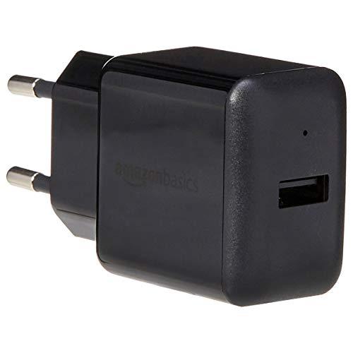 AmazonBasics – Cargador USB de pared de un puerto (2,4amperios), Negro,Pack de 2uds