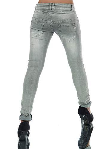 Damen Jeans Hose Boyfriend Damenjeans Harem Baggy Chino Haremshose L368, Größen:42 (XL), Farben:Khaki