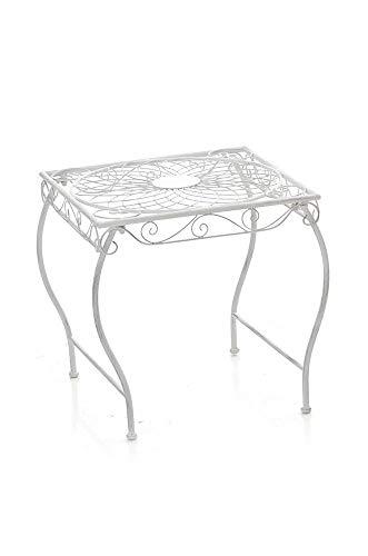 Tavolino in Ferro Zarina Decorativo I Tavolino caffè Interno Esterno I Tavolino Giardino Stile Rustico 50x45CM I Tavolino Quadrato Balcone, Colore:Antico Bianco