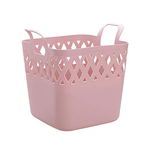 DaFei Compartimiento de Almacenamiento, pequeña Cesta de Escritorio Hueca plástica Blanca del Organizador de la Ropa Ninguna Tapa (Color : Pink)