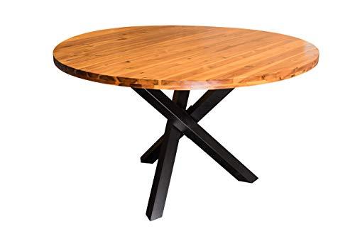 SAM Runder Esszimmertisch 120 cm Isabella, Esstisch cognacfarben, Akazienholz massiv, Sternfuß aus Metall Schwarz, aufgedoppelte Tischplatte 35 mm