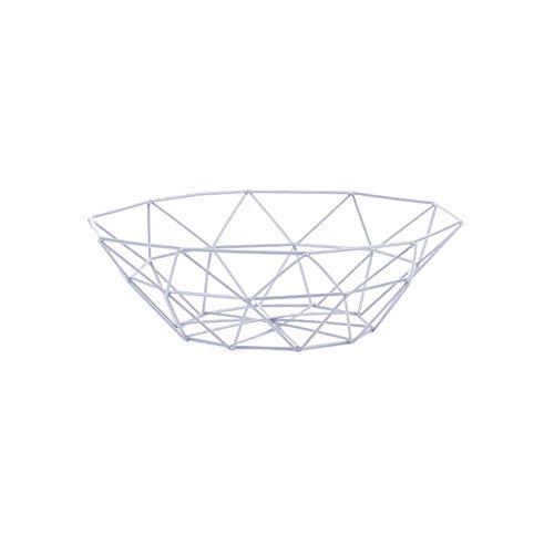 Corbeille à fruits créative en métal pour le bureau, le comptoir de cuisine, les armoires, le garde-manger, la salle de bain 26x14x9 CM blanc