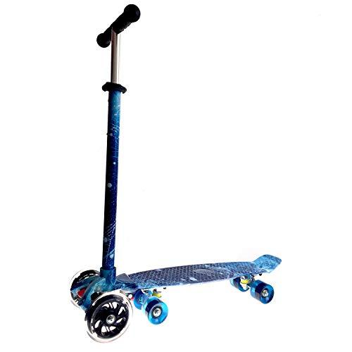 LABYSJ Scooter para niños, patineta extraíble 2 en 1, Altura Ajustable, Rueda de luz Intermitente, Patrón de Cielo Estrellado Azul, patinetas de pie Juguetes Regalos