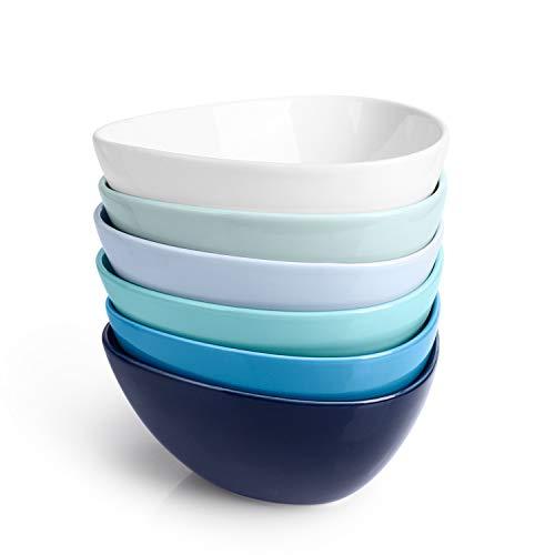 Sweese 115.003 Müslischalen 6er Set aus Porzellan, Füllmenge 500 ml, Müslischüssel, Müsli Schale, Dessertschale, Snackschale, Eisschale, Schüssel, Blaue Serie