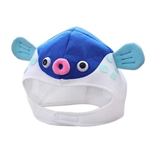 Amosfun Cappello Pesce Costume Copricapo Peluche Animale Berretto per Donna Bamibini