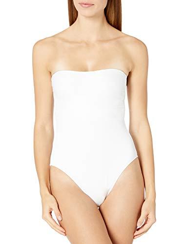 La Blanca Women's Bandeau One Piece Swimsuit, White//Lets Duet, 10