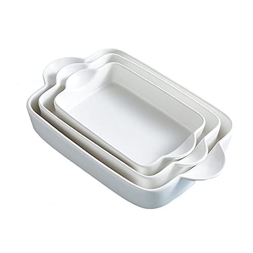 Bakeware Set Ceramic Baking Dish - Rectangular Porcelain Baking Pan Lasagna Pans Casserole Dish Set for Cooking, Kitchen, Cake Dinner, Banquet and Daily Use, 3 PCS, 11 x 8 Inches (White)