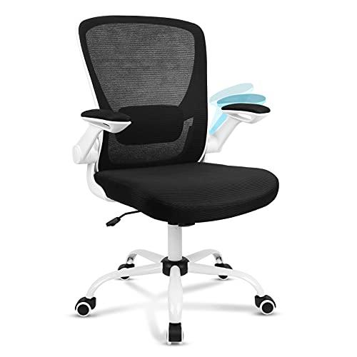 Komene Silla de oficina ergonómica con reposabrazos plegables, color blanco