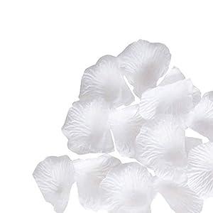 Pétalos de rosa de imitación, confeti de flores para boda, romántica decoración nocturna, color blanco crema, 1000 unidades