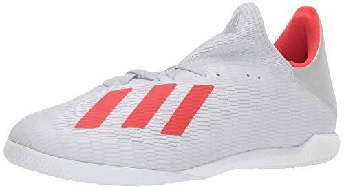adidas Men's X 19.3 Indoor Soccer Shoe, Silver Metallic/hi-res red/White, 13 M US