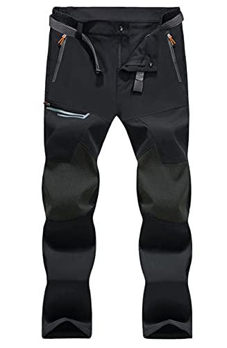 MAGCOMSEN Pantalon d'extérieur pour homme - Léger et fin - En softshell - Respirant - Coupe-vent - Imperméable - Avec plusieurs poches - Noir - 36