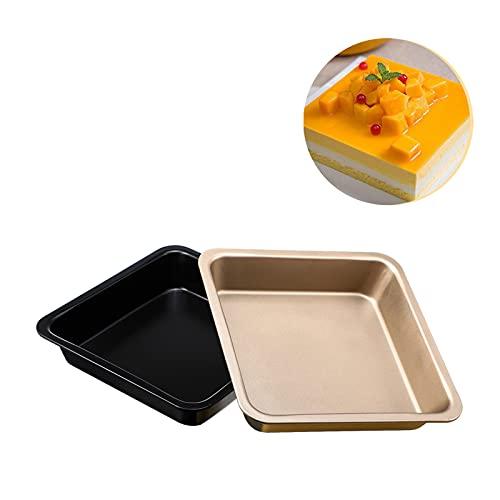 RosewineC Juego de 2 moldes cuadrados de 20 cm, para horno y freír, antiadherentes, de acero al carbono, para tartas, pan, pizza