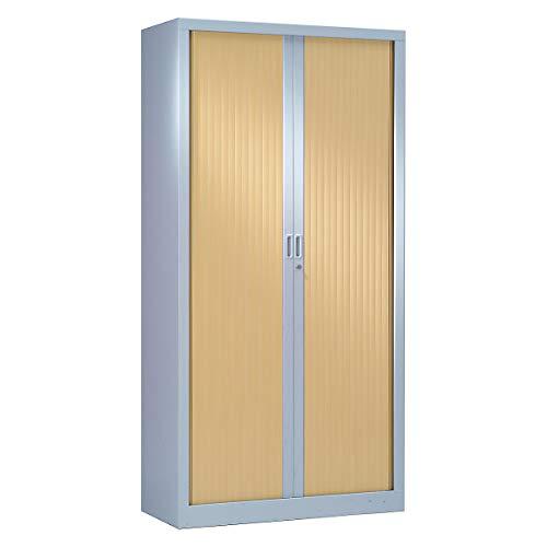 Armoire Monobloc à rideaux | Aluminium | Chêne Clair | HxLxP 1980 x 1000 x 430 | Certeo