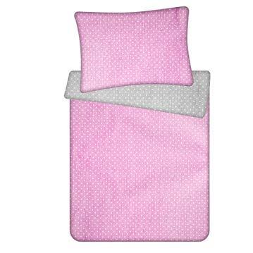 ropa de cama infantil - sabanas chichonera edredon cuna colcha infantil Juego de funda nórdica + funda de almohada ALGODÓN rosa blanco gris, 100X135