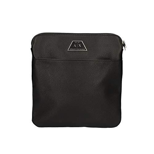 Armani Exchange Herren Small Crossbody Bag Kuriertasche, Schwarz (Nero-Black), 22.5x1.5x22 cm (B x H x T)