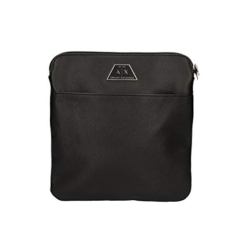 Armani Exchange Herren Small Crossbody Bag Kuriertasche, Schwarz (Nero-Black), 22.5x1.5x22 cm