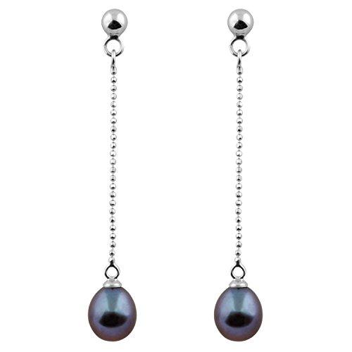 Bella Pearls Women's Black Freshwater Pearl Drop Sterling Silver Earrings