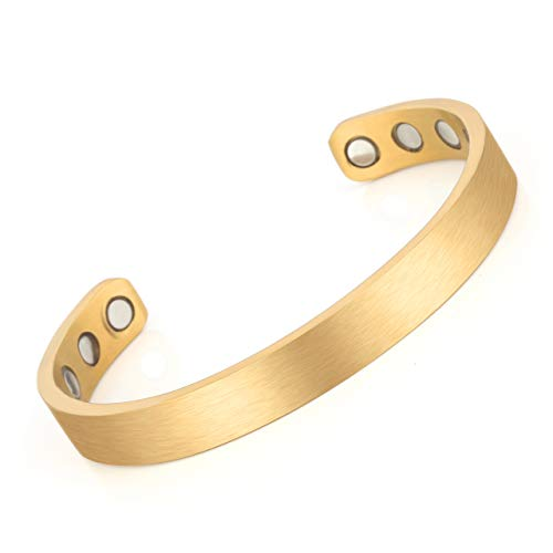 Zysta Titan ArmschmuckDamen Herren Magnetarmband Offener Armreif Armspange Pärchen Geschenke (Damen-Gold)