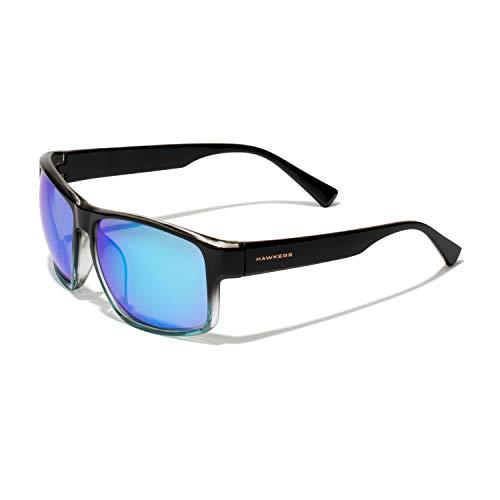 HAWKERS Gafas de Sol Deportivas Faster, para Hombre y Mujer, con Montura bicolor negro brillante a azul y lente cromada azul cielo con efecto espejo, Protección UV400