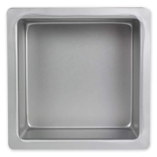 PME Square Cake Pan 9 x 9 x 3 Inches Deep, Aluminium, Silver, 9 x 9