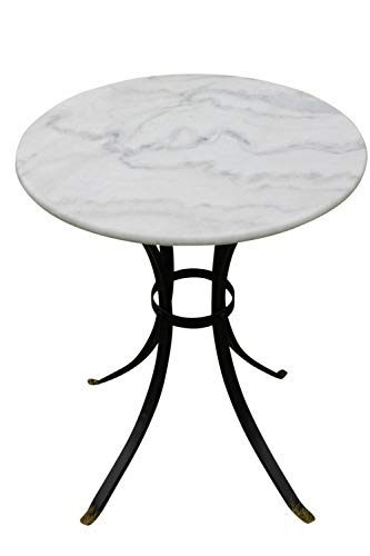Garden Market Place Marble Top Bistro Table-Ideal for The Patio, Garden or Indoors, Black and White, 60 X 70