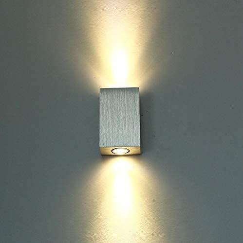 Louvra 6W LED Wandleuchte Modern Innen up and down Wandlampe Silber aus Aluminium Wasserdichte IP54 für Wohnzimmer Schlafzimmer Badzimmer Flur Treppen Cafe Bar usw. Kaltweiß/Warmweiß