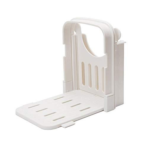 wetour Brot Schneidemaschine Klappbar Brotschneide Manuell Kunststoffmit Brett Und Messer Schneidehilfe Slicer Brotschneider, Weiß