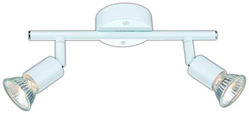 DM Leuchten - Lámpara LED de techo orientable (2 focos, incluye 2 bombillas de 3 W, luz blanca cálida, casquillo GU10), color blanco