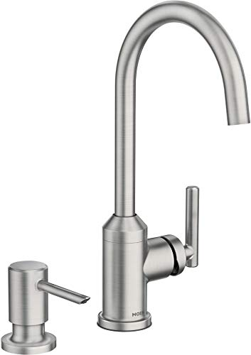 Amazing Deal Moen 87593SRS Soltani 1.5 GPM Single Hole Bar Faucet – Includes Soap Dispenser and Duralast Technology