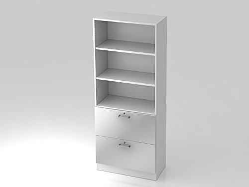 Regal 5 OH, 2 Hängeregister, Sockelblende Chromgriff, Weiß/Silber