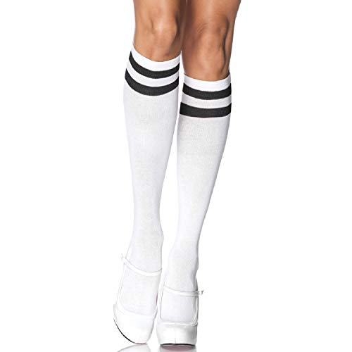Leg Avenue Women's Athletic Knee Socks, White/Black, One Size